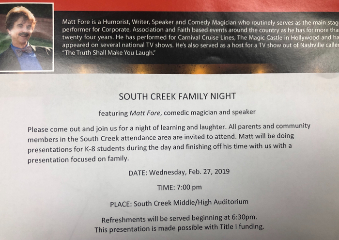 South Creek FAMILY NIGHT!